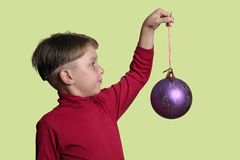 Boy with Christmas decoration stock photos