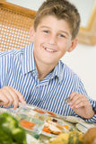 Boy At Christmas Dinner Stock Images