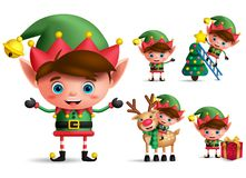 Boy christmas elf vector character set. Little kid elves with green costume. Holding christmas gifts and elements isolated in white background. Vector vector illustration