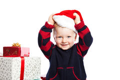 Boy with christmas gift Royalty Free Stock Image