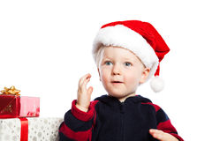 Boy with christmas gift Stock Images