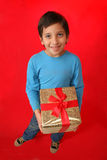 Boy with a christmas gift Stock Photos