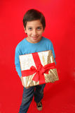 Boy with a christmas gift Stock Images