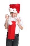 Boy with Christmas gift bag Royalty Free Stock Images