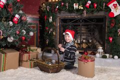 Boy with christmas gift box. stock images
