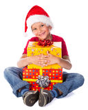 Boy with Christmas gift box Stock Images