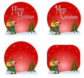 Boy Christmas Gift Logos. An illustration featuring an assortment of holiday themed logos with a little african american boy carryin Christmas presents - blank Stock Photo