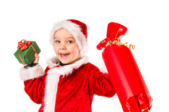 Boy and Christmas gift Royalty Free Stock Photos