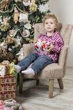 Boy with Christmas gifts Royalty Free Stock Image