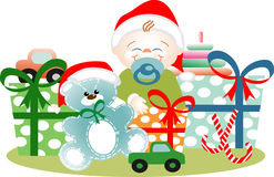 Boy in Christmas yet its gifts. Very happy small boy in his first Christmas with all its gifts and toys stock illustration