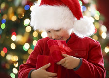 Boy with christmas present Royalty Free Stock Image