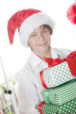 Boy with Christmas presents Stock Photography