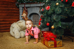 Boy, Christmas tree and gifts Royalty Free Stock Image