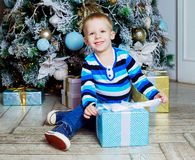 Boy with Christmas tree Royalty Free Stock Image