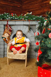 Boy and Christmas tree Royalty Free Stock Photography