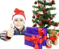 Boy and a Christmas Tree, showing OK sign. Stock Image