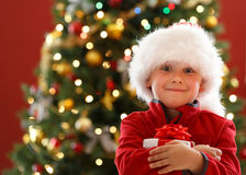 Boy with Chritmas gift Royalty Free Stock Image