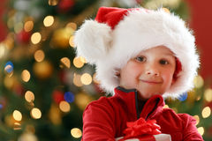 Boy with Chritmas gift Stock Images