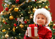 Boy with Chritmas gift Stock Photo