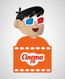 Boy cinema 3d glasses banner Stock Photo