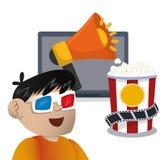 boy cinema 3d glasses megaphone speaker with pop corn Royalty Free Stock Image