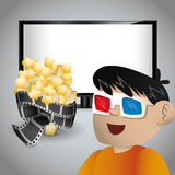 boy cinema 3d glasses tv and pop corn Royalty Free Stock Images