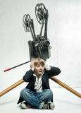 Boy and cinema Royalty Free Stock Images