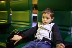 Boy in cinema stock photo