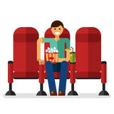 Boy in the cinema. Vector flat style illustration of young smiling boy in the cinema with popcorn and soda watching movie. People in the cinema concept isolated Stock Photography