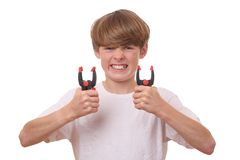 Boy with clamps Stock Photo