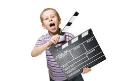 Boy with clapperboard upper part Royalty Free Stock Images