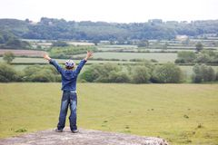 Boy at classic England landscape Stock Photography