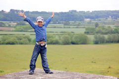 Boy at classic England landscape Royalty Free Stock Photography