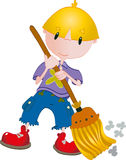 Boy clean with broom Royalty Free Stock Image