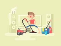 Boy cleaning house Royalty Free Stock Photos