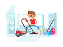 Boy cleaning house Stock Images