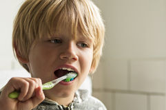 Boy cleaning teeth Stock Photography