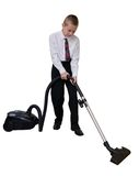 Boy cleans the floor vacuuming Royalty Free Stock Images