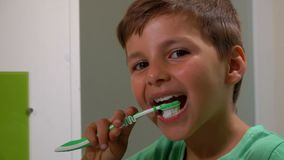 Boy cleans his teeth. Little boy brushes his teeth in the bathroom stock video