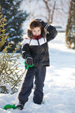 The boy cleans snow royalty free stock photo