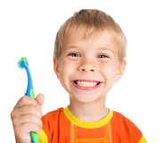 Boy cleans a teeth. Smiley boy cleans a teeth isolated on white background Stock Photos