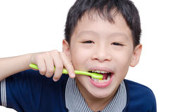 Boy cleansing teeth by toothbrush Royalty Free Stock Image