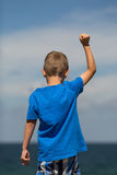 Boy with clenched fist Stock Photo