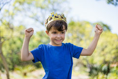 Boy clenching his fists in excitement Royalty Free Stock Photography