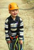 Boy in a climbing adventure activity park stock photos