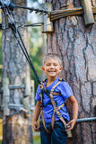 Boy in a climbing adventure park Royalty Free Stock Photos