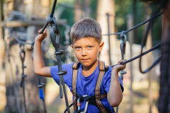 Boy in a climbing adventure park. Happy child, preschool boy enjoying activity in a climbing adventure park on a summer day Royalty Free Stock Image