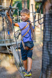 Boy in a climbing adventure park Stock Image