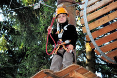 Boy in a climbing facility Royalty Free Stock Images