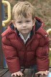 Boy on climbing frame Royalty Free Stock Images